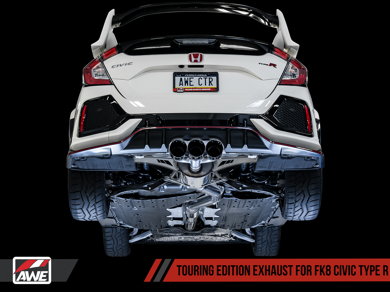 AWE Tuning Touring Edition Exhaust - Diamond Black Tips: 17+ Honda Civic Type-R