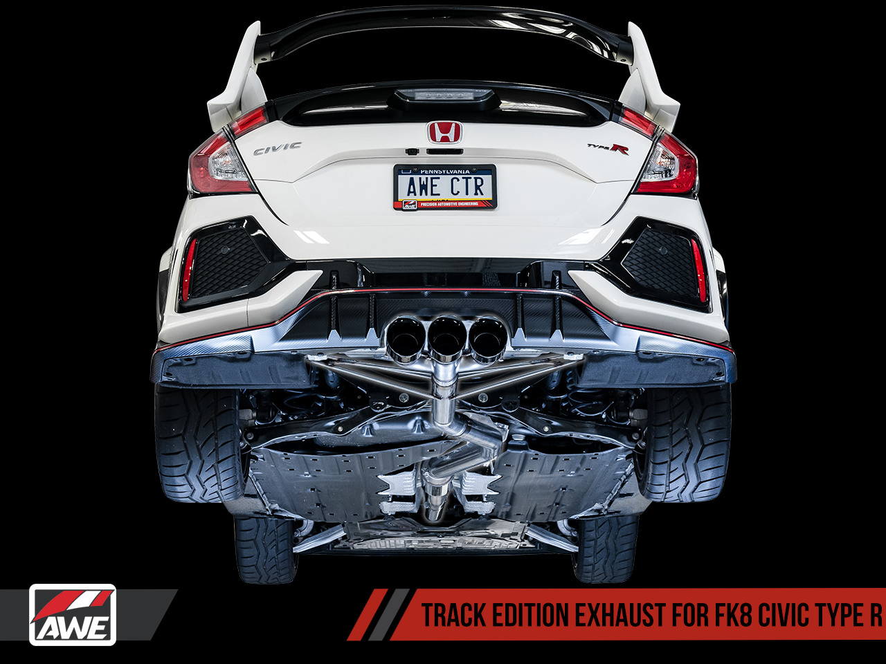 AWE Tuning Track Edition Exhaust - Diamond Black Tips: 17+ Honda Civic Type-R