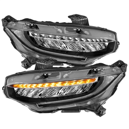 ANZO Projector Headlights (Plank Style Black w/Amber/Sequential Turn Signal): 16-17 Honda Civic